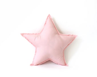 Star Pillow - decorative star shaped pillow in pink, soft cotton