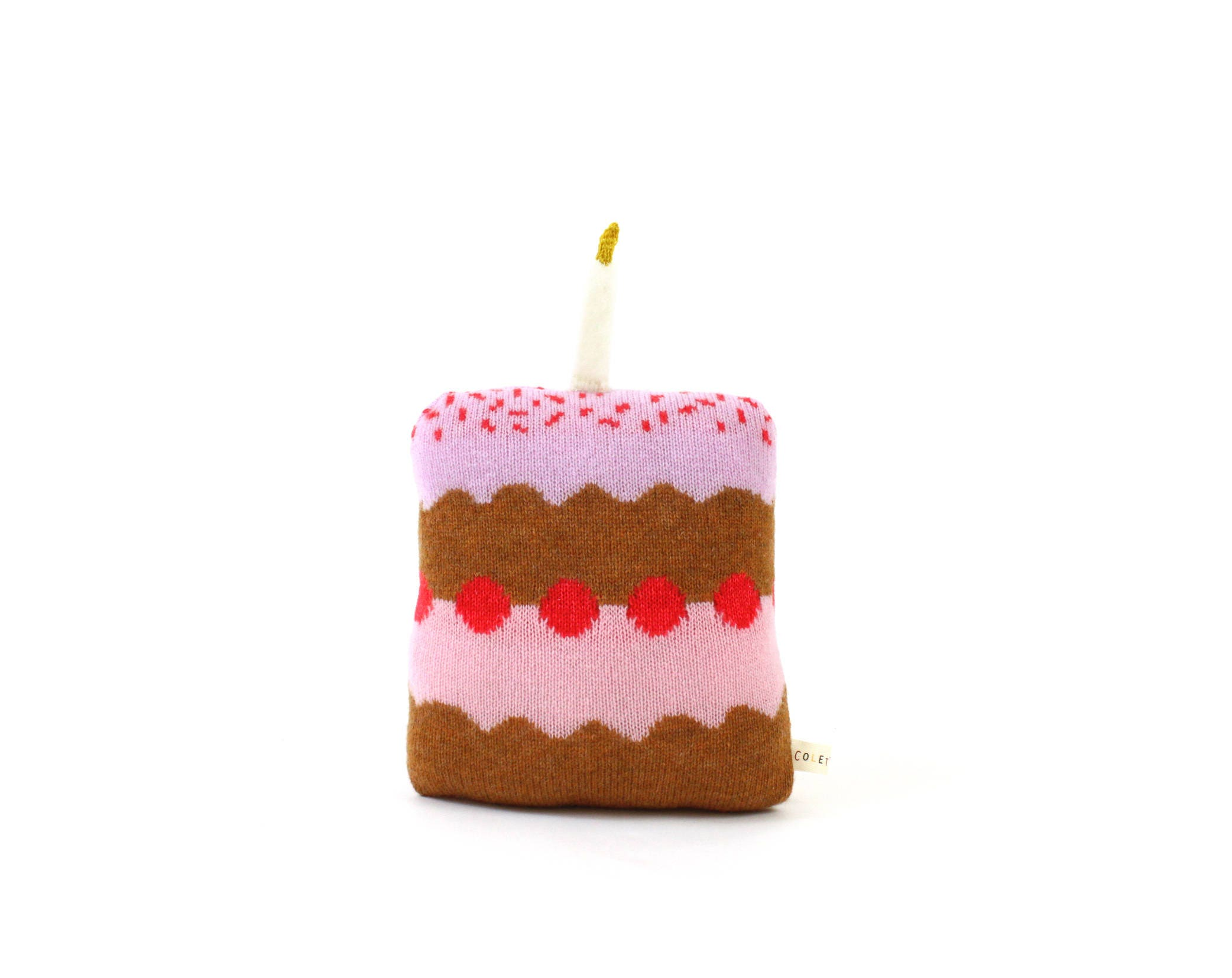Birthday Cake Pillow Soft Knitted Lambswool Cushion Cake Etsy