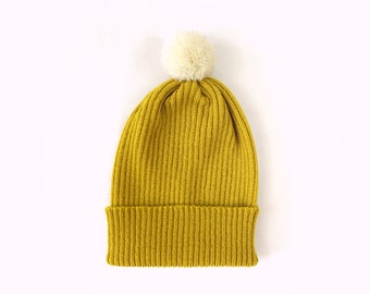 Pick-A-Pom Ribbed Beanie Hat, pure Lambswool in Dijon yellow