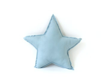 Star shaped Pillow - decorative star pillow in cloud blue, soft cotton