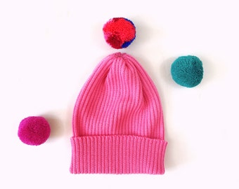 Pick-A-Pom Ribbed Beanie Hat, merino wool in Neon Pink