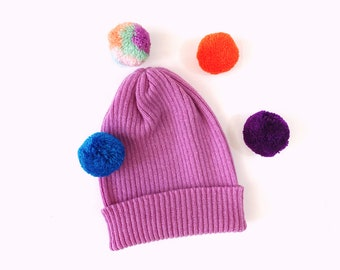 Pick-A-Pom Ribbed Knit Hat, Beanie, pure Lambswool in Orchid pink