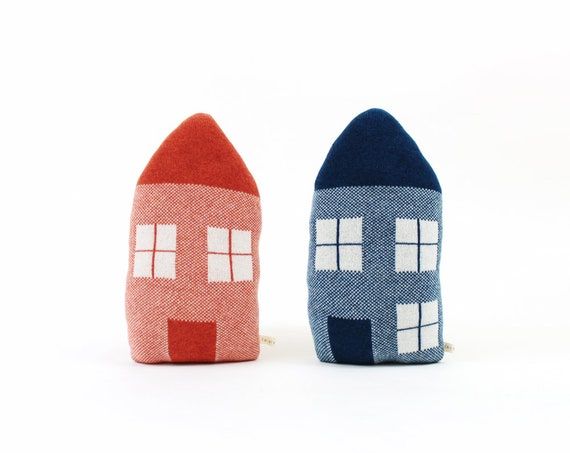 House Pillow Soft Knitted Lambswool Cushion House Shaped Pillow