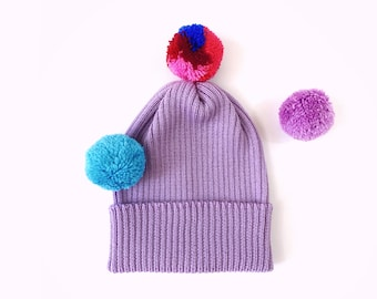 Pick-A-Pom Ribbed Beanie Hat, merino wool in Lilac