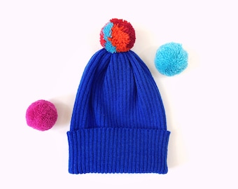Pick-A-Pom Ribbed Knit Hat, Beanie, pure Lambswool in Cobalt blue