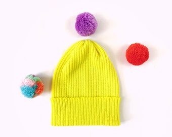 Pick-A-Pom Ribbed Beanie Hat, merino wool in Neon Yellow