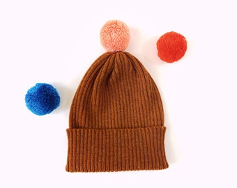 Pick-A-Pom Ribbed Beanie Hat, pure Lambswool in Rust