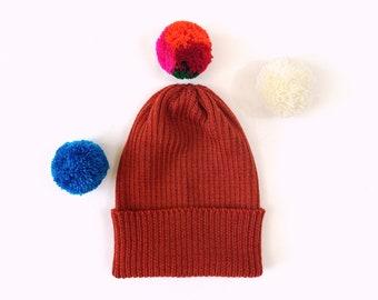 Pick-A-Pom Ribbed Beanie Hat, merino wool in Auburn