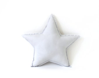 Star shaped Pillow - decorative star pillow in washed grey, soft cotton