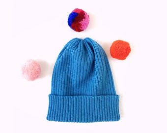 Pick-A-Pom Ribbed Beanie Hat, pure Lambswool in Ocean blue