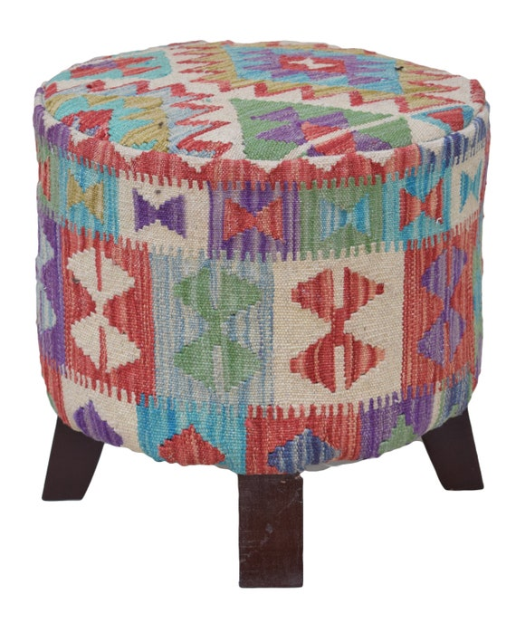 Turkish Kilim Pouf Footstool Multicolor Tribal 40' Etsy Gorgeous Turkish Kilim Pouf