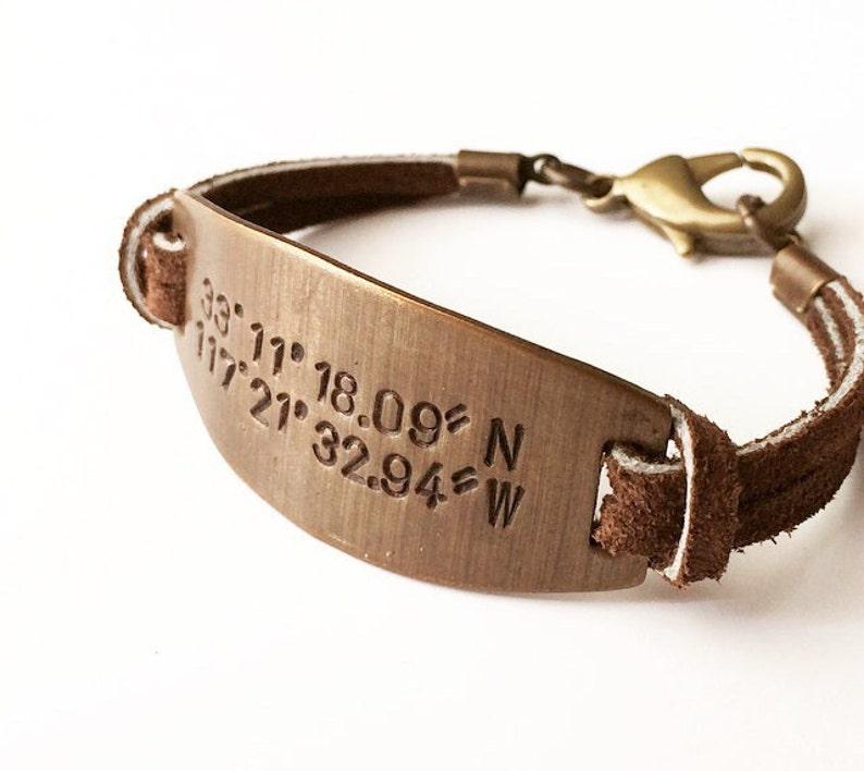 GPS Latitude Longitude Bracelet. Personalized Valentine's image 0