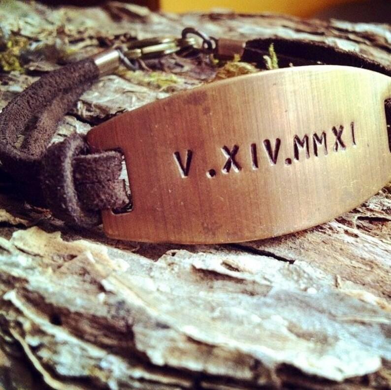 Roman Numeral Bracelet Special Date Bracelet Groom Gift image 0