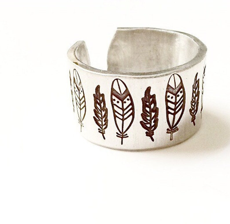 Stamped Feather Ring image 0