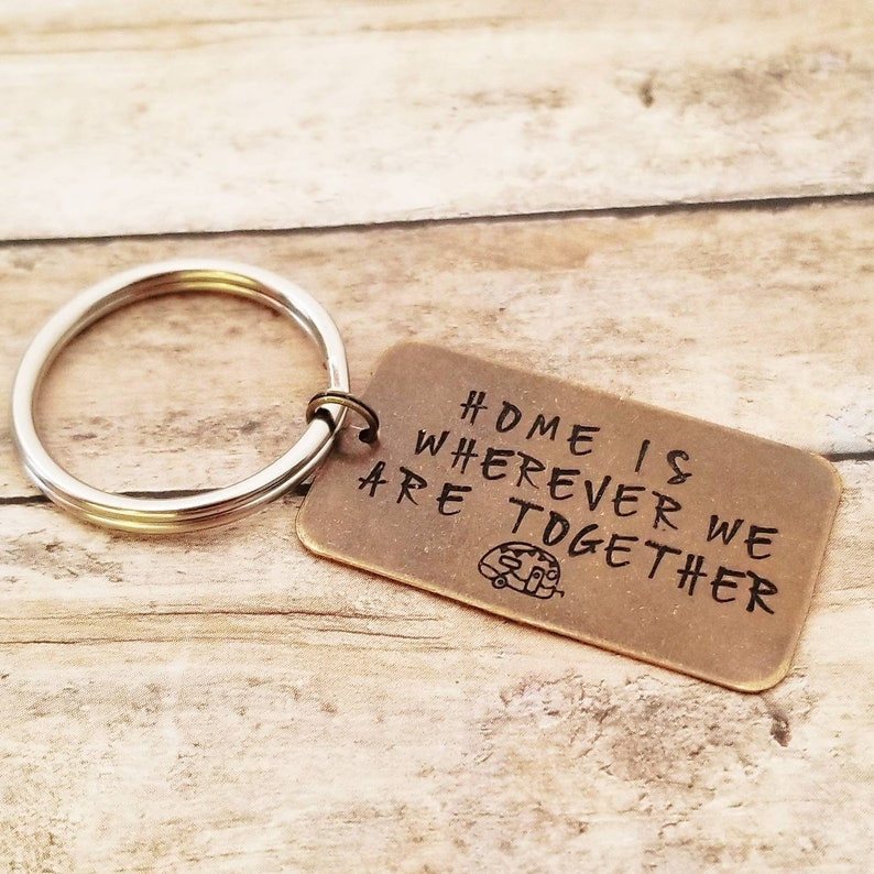 Camping Keychain Camper Keychain Home is wherever we are image 0
