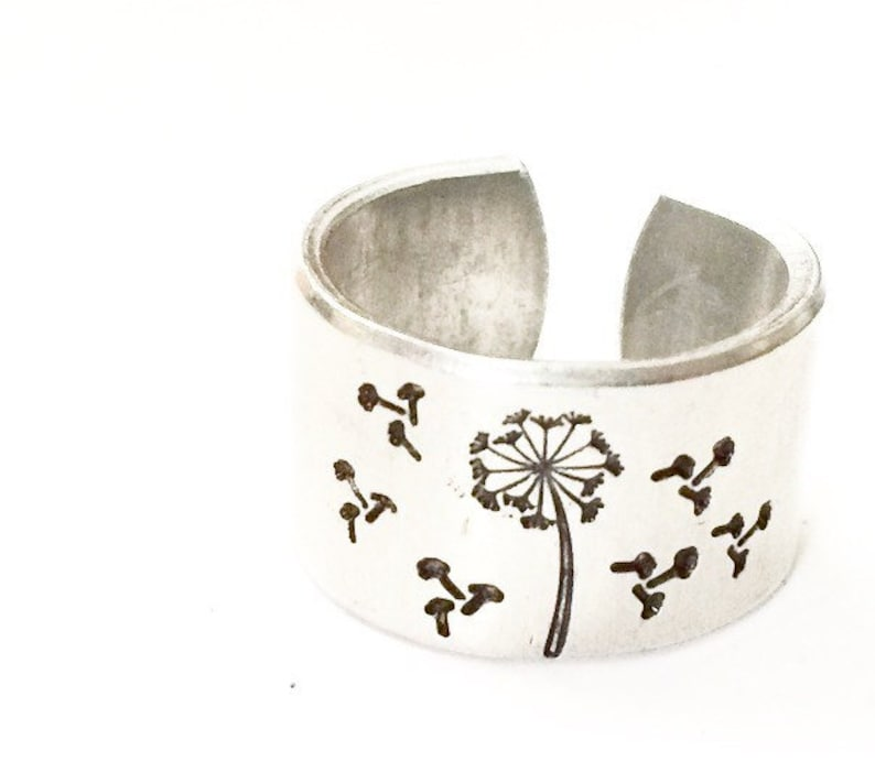 Dandelion Ring. Stamped Flower Ring image 0