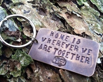 Camping Keychain Camper Keychain Home is wherever we are together keychain happy camper keychain