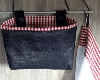 Cestino in tessuto e canovaccio - cucina - quadretti vichy e jeans - home  decor b484216bc15d