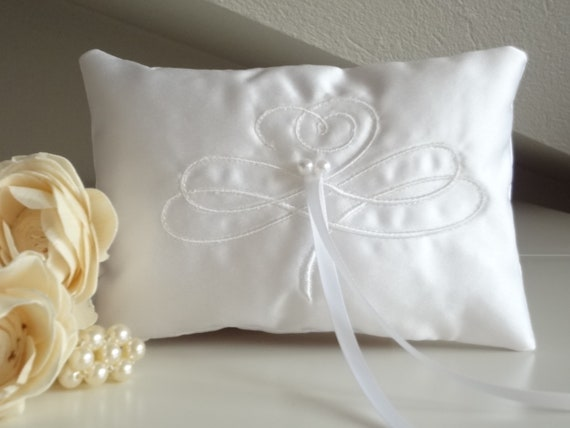 no candle WHITE Satin /& Lace Wedding Ring Bearer Pillow w// FREE CANDLE WRAP