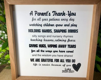 Care Giver Babysitter Childcare Day Care Poem a Mother's Thank you Nanny babysitter Sign for caregiver poem for babysitter daycare provider