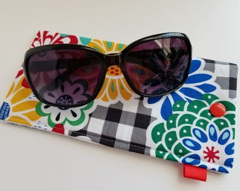 193103c6a0 Padded Sunglasses Case with Snap- Checkered background