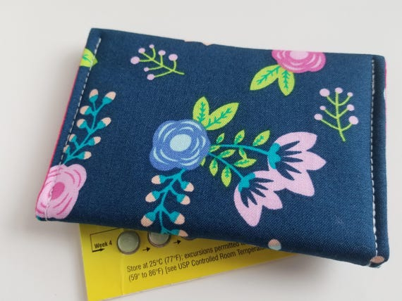 Birth Control Case Sleeve with Snap Closure and Optional Keychain Clip Flowers on grey