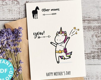 """FUNNY Mother's Day Card Printable, 5x7"""", Mom card, Unicorn mom, Horse Mom, From Son, From Daughter, Editable Text inside, INSTANT DOWNLOAD"""