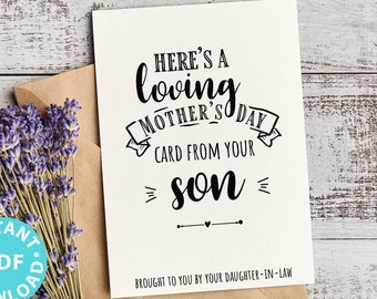 """FUNNY Mother's Day Card Printable, 5x7"""", Mom card, Loving Card, From Son, From Daughter in law, Editable Text Inside, INSTANT DOWNLOAD"""