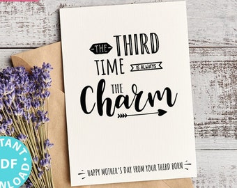 """FUNNY Mother's Day Card Printable, 5x7"""", Mom card, Third time is always the charm, From Son, From Daughter, Editable Text, INSTANT DOWNLOAD"""