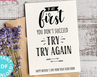 """FUNNY Mother's Day Card Printable, 5x7"""", Mom card, If at first you don't succeed, From Son, From Daughter, Editable Text, INSTANT DOWNLOAD"""