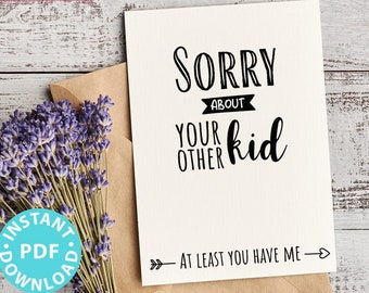 """FUNNY Mother's Day Card Printable, 5x7"""", Mom card, Sorry about your other kid, From Son, From Daughter, Editable Text, INSTANT DOWNLOAD"""