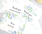 Thank You Cards Printable Template Set, Greenery, set of 4 designs, 100% editable, w. Envelope Template, Shower, Wedding, INSTANT DOWNLOAD