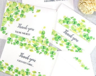 Printable Thank You Cards Template Set, Eucalyptus Thank You Notes, Editable, w. Envelope, for Baby Shower, for Wedding, INSTANT DOWNLOAD
