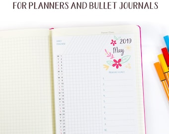 2018 calendar printable set for bullet journals and planners etsy