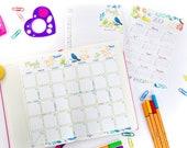 2019 Calendar Printable Set, Watercolor Design, Bullet Journal & Planners, BUJO Monthy Planner and Task Tracker, INSTANT DOWNLOAD