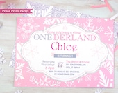 Winter ONEderland Invitation Printable, Pink and Silver, Snowflakes, Girl First Birthday Party, 1st birthday invitation, INSTANT DOWNLOAD