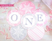 Winter ONEderland Banner Printable, Pink, Silver Snowflakes, Girl First Birthday Party, 1st birthday, Christmas Banner, INSTANT DOWNLOAD