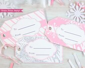 Christmas Gift Tags Printable, Holidays Gift Tags, Pink & Silver, Snowflakes, Winter ONEdeland, First Birthday, Favor Tags, INSTANT DOWNLOAD