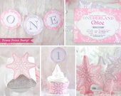 Winter ONEderland Birthday Decorations Printable Package, Pink & Silver Snowflakes, Girl First Birthday Party, 1st, Banner, INSTANT DOWNLOAD