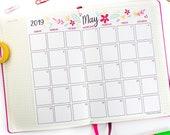 2019 Calendar Printable, Whimsy Design, Monthly Calendar, Bullet Journal Calendar & Planners, BUJO, INSTANT DOWNLOAD