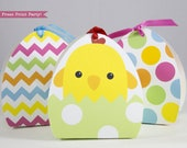 Easter Basket Treat Boxes Printable, Easter Egg Chick Favor Box, Dots and Chevron, Favor Bags Easter Decoration, Spring, INSTANT DOWNLOAD
