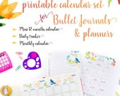 2019 Calendar Printable SET for Bullet Journals and Planners, 2019 Monthly Calendar, Daily Task Tracker, Mini Calendar, INSTANT DOWNLOAD