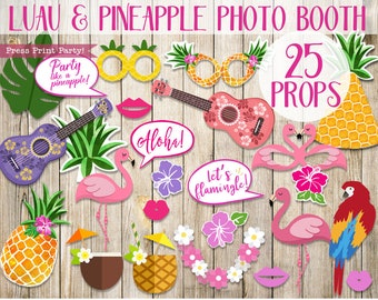 Luau Party Decorations Printable Props Luau Photo Booth Etsy