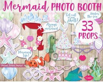 Mermaid Photo Booth Props, Under the Sea Photo Props, Mermaid Tail Props, Mermaid Party Decorations, Birthday, INSTANT DOWNLOAD