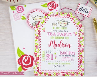 Tea Party Birthday Printables Tea Party Decorations Bridal Etsy