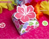 Luau Party Favor, Luau Favor Box printable, Moana Favor Box, Treat Box, Hibiscus Box, Luau Party Supplies, Birthday Favor, INSTANT DOWNLOAD
