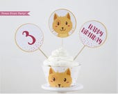 Boy Cat Party Cupcake Toppers and Wrapper Printable, Cat Cupcake Wrapper, Cat Cupcake Topper, Kitten birthday, Kitty Cat birthday, Boy Party