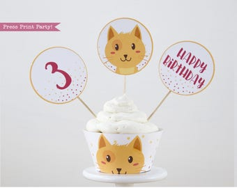 Boy Cat Party Cupcake Toppers And Wrapper Printable Topper Kitten Birthday Kitty