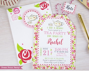 Tea party baby shower invitation etsy tea party baby shower invitation printables a baby is brewing baby shower tea party baby shower invitation girl instant download filmwisefo