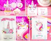 Unicorn Birthday Party Printables, Magical Unicorn Invite, Banner, Party Favor Box, Hats, Unicorn Party Decor, Rainbow, INSTANT DOWNLOAD